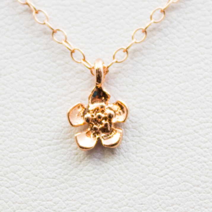 3D Cherry Blossom Necklace - 18k Rose Gold Sakura Flower Charm Necklace
