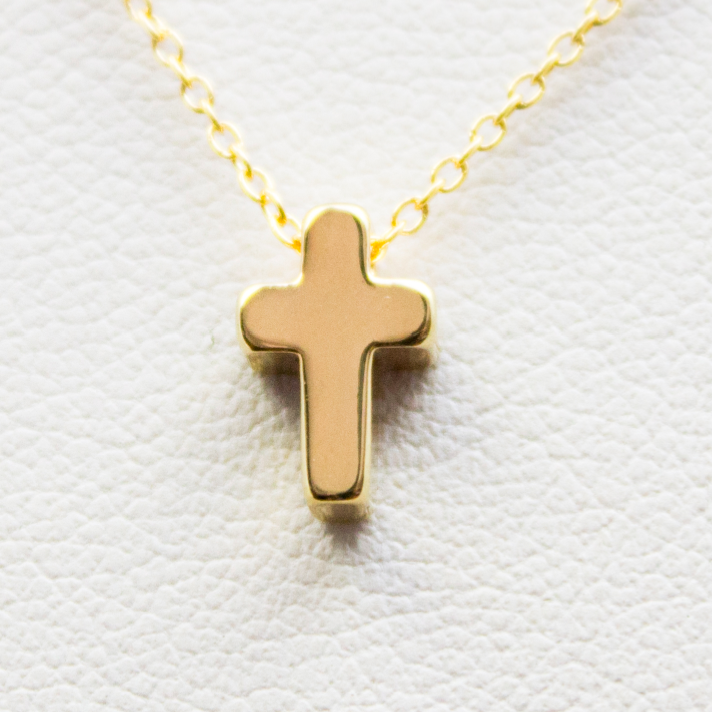 3D Mini Cross Necklace - 18k Gold Mini Cross Charm Necklace