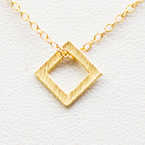 Mini Square Necklace - 18k Gold Textured Square Charm Necklace