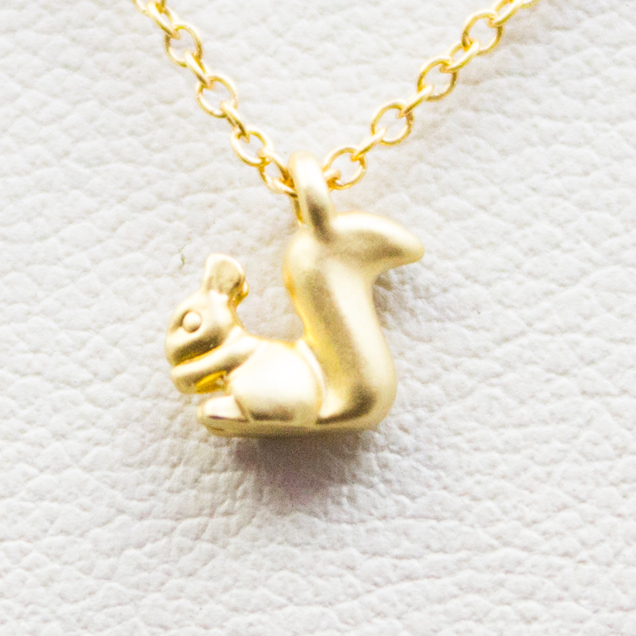 3D Mini Squirrel Necklace - 18k Gold Tiny Squirrel Charm Necklace