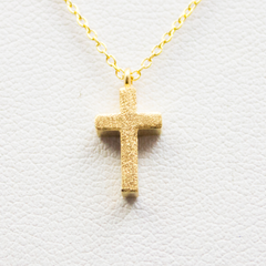 3D Mini Sharp Cross Necklace - 18k Gold Cross Charm Necklace