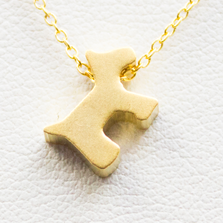 3D Puppy Necklace - 18k Gold Scotty Dog Charm Necklace