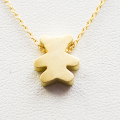 3D Teddy Bear Necklace - 18k Gold Bear Charm Necklace