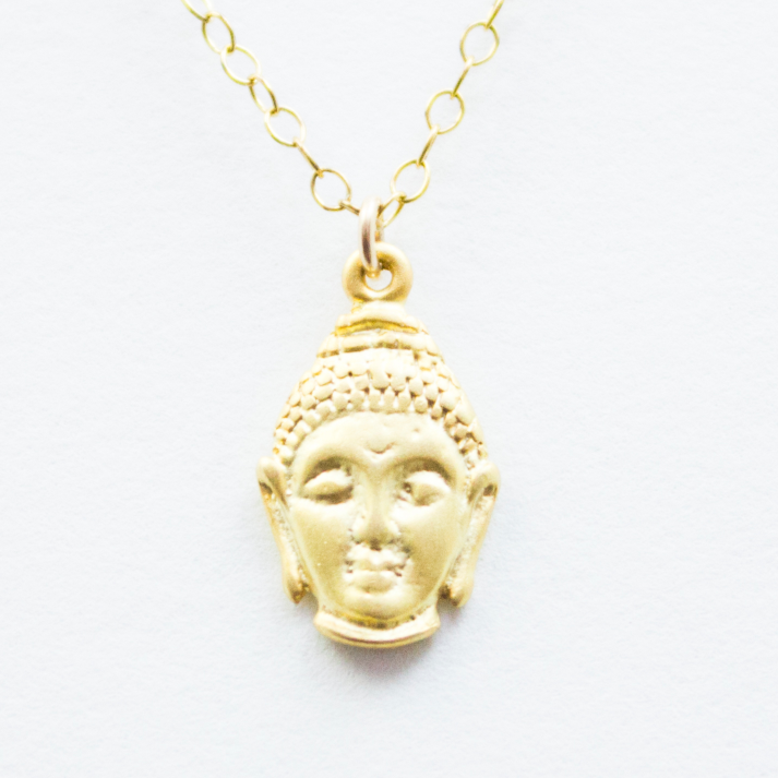 Nirvana Necklace - 18k Gold Pendant Buddha Head Charm Necklace