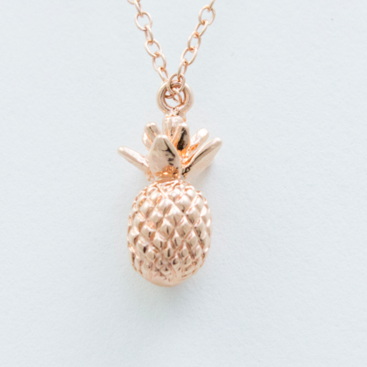 3D Pineapple Necklace - 18k Gold Pineapple Charm Necklace