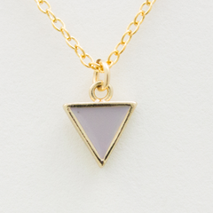 Mini True Color Triangle Necklace - 18k Gold and Enamel Triangle Charm Necklace