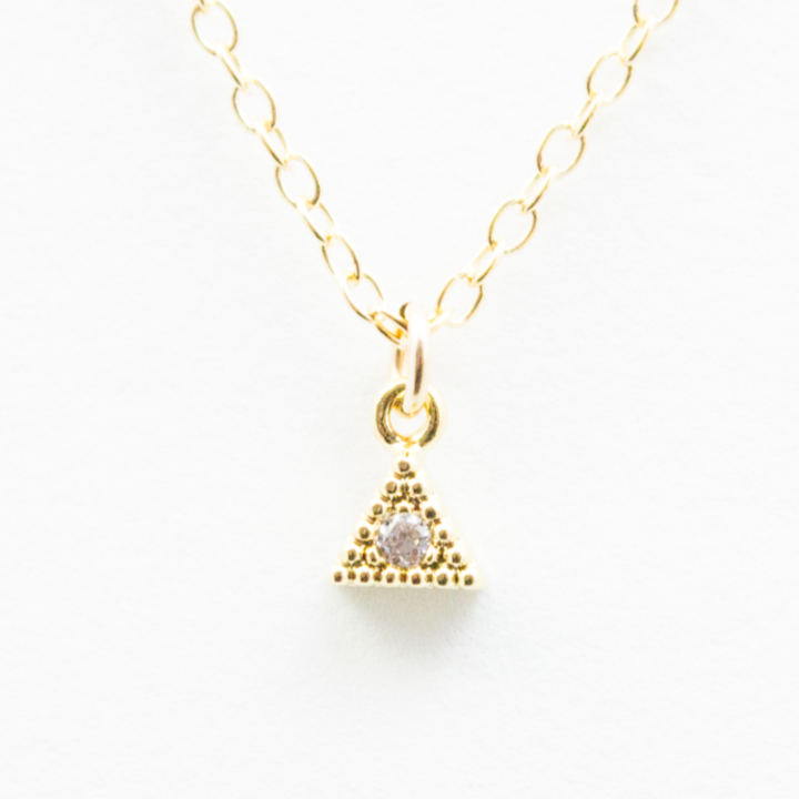Crystal Pyramid Necklace - 18k Gold and Crystal Pyramid Charm Necklace