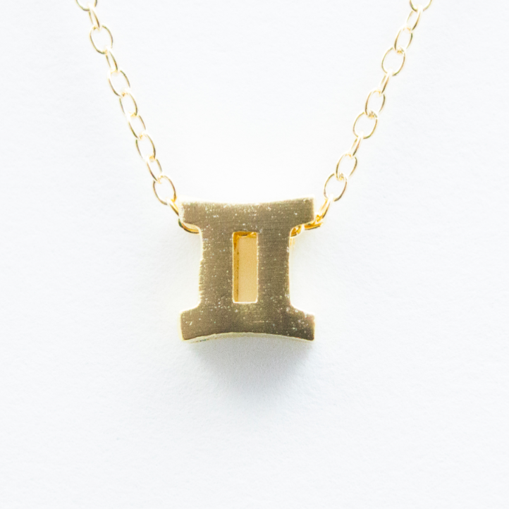 3D Zodiac Sign Gemini Necklace - 24k Gold Horoscope Charm Necklace