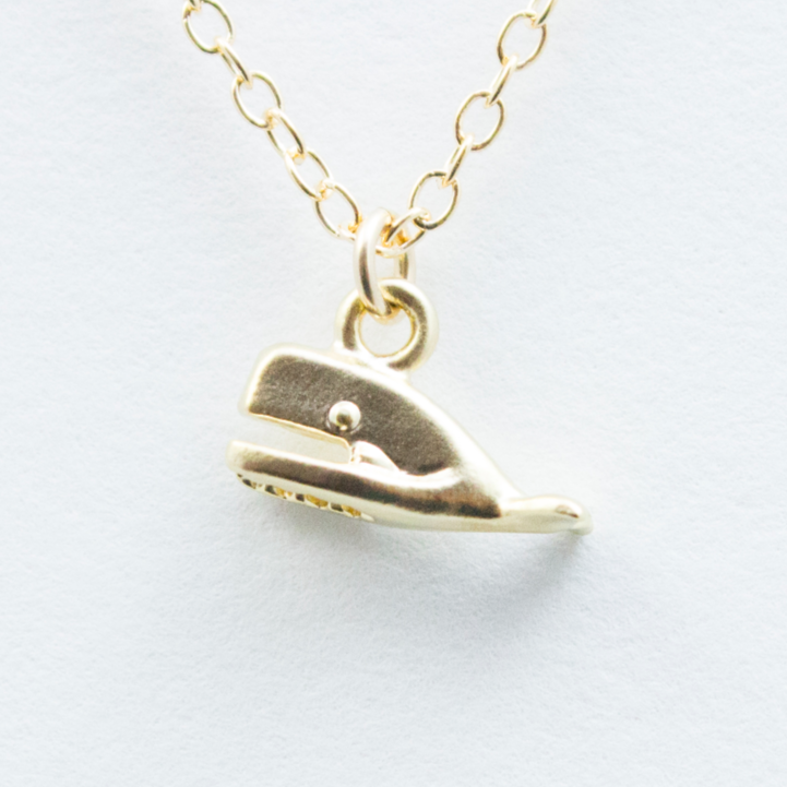 3D Mini Whale Necklace - 18k Gold Small Whale Charm Necklace
