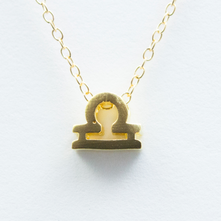 3D Zodiac Sign Libra Necklace - 24k Gold Horoscope Charm Necklace