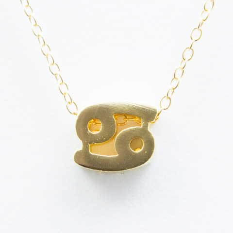 3D Zodiac Sign Cancer Necklace - 24k Gold Horoscope Charm Necklace