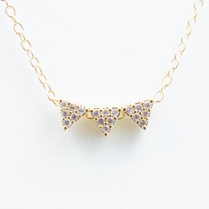 3D Crystal Bunting Necklace - 18k Gold and Crystal Bunting Charm Necklace