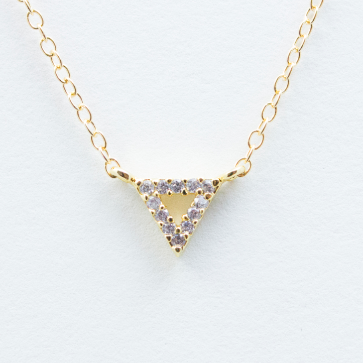 Crystal Triangle Necklace - 18k Gold and Crystal Triangle Charm Necklace