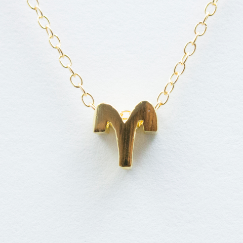 3D Zodiac Sign Aries Necklace - 24k Gold Horoscope Charm Necklace