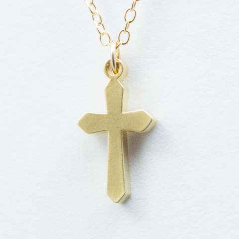 3D Duomo Cross Necklace - 18k Gold Cross Charm Necklace