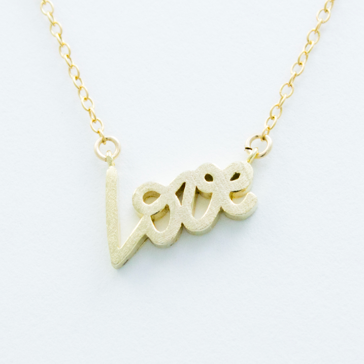 3D Love Necklace - 18k Gold Love Charm Necklace
