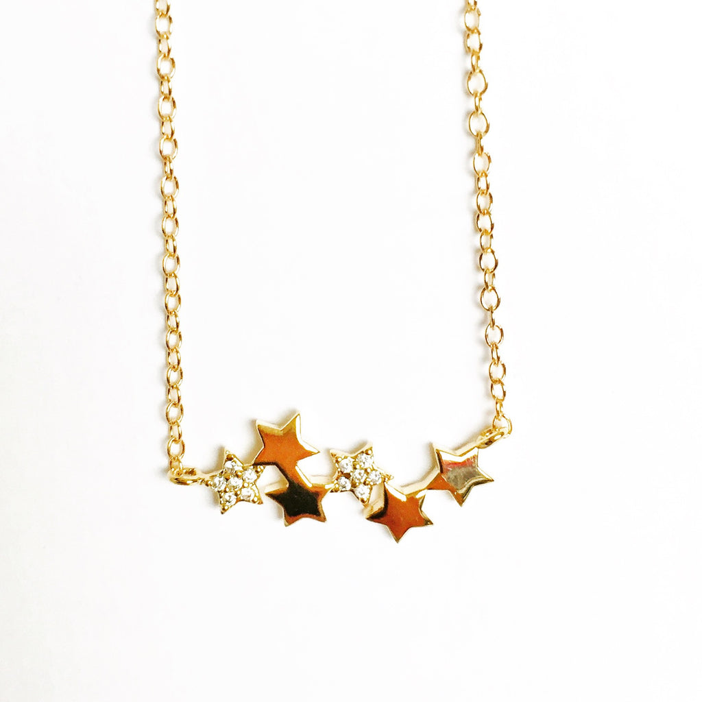 String of Stars Necklace - 18k Gold and Crystal Horizontal Star Pendant Charm Necklace