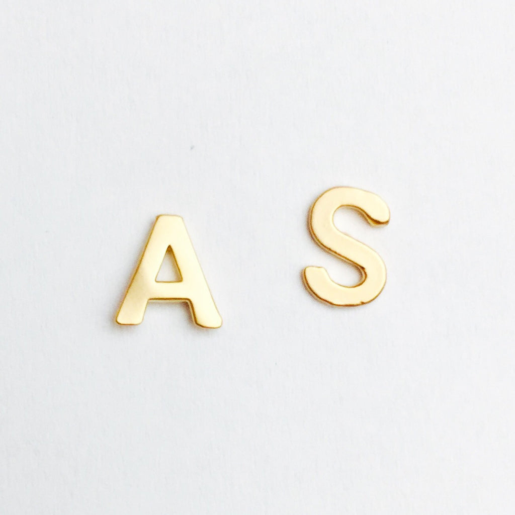 Initial Upper Case Stud Earrings - 18k Gold Initial Post Earrings