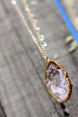Positano Necklace - 24k Gold Dipped Agate Druzy Crystal Slice with Aquamarine Necklace