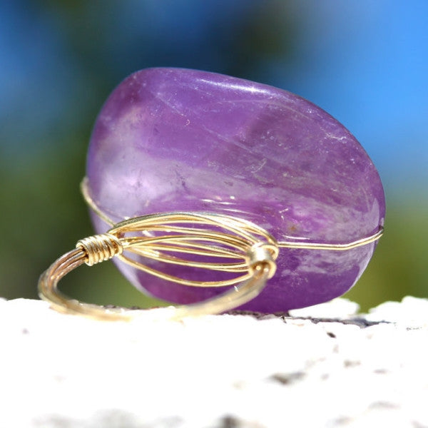 Purple Haze Ring - 18k Gold & Purple Amethyst Wire Wrapped Ring