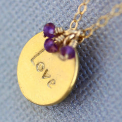 Love Stamp Necklace - 18k Gold Charm, Pink Topaz & Purple Amethyst Necklace.
