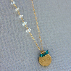Believe Stamp Necklace - 18k Gold Charm, Aquamarine & Blue Topaz Necklace.