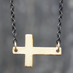Agape Necklace - 18k Horizontal Gold Cross Charm & Fresh Water Pearl Necklace