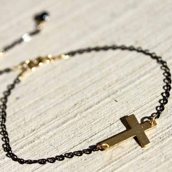 Agape Bracelet - 18k Horizontal Gold Cross Charm & Fresh Water Pearl Bracelet