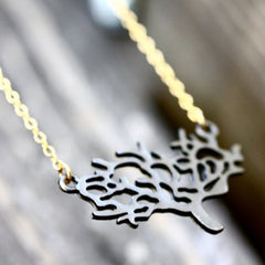 The Giving Tree Necklace - 18k Gold and Gunmetal Tree Pendant Charm Necklace