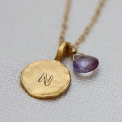 Say My Name Necklace - Personalized 18k Gold Initial Charm & Birthstone Necklace.