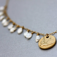 Amalfi Coin Necklace - 18k Gold Bird Charm and Pearl Necklace.