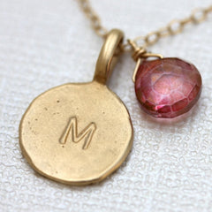 Asymmetrical Say My Name Necklace - Personalized 18k Gold Initial Charm & Birthstone Necklace.