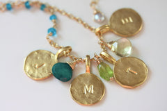 Say My Name Necklace - Personalized 18k Gold Initial 4 Charm & Birthstone Necklace.