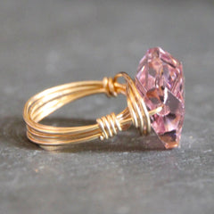 Gem Pop Ring - 18k Gold & Light Amethyst Swarovski Crystal Wire Wrapped Ring