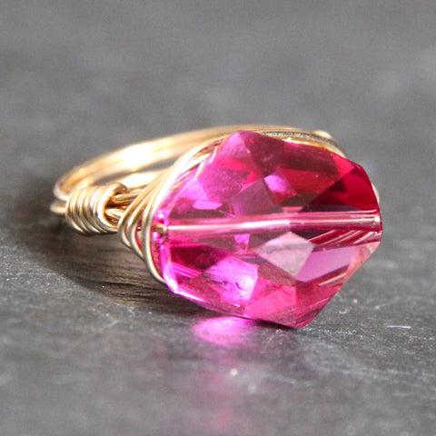 Gem Pop Ring - 18k Gold & Fuschia Swarovski Crystal Wire Wrapped Ring