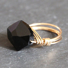 Gem Pop Ring - 18k Gold & Jet Black Swarovski Crystal Wire Wrapped Ring
