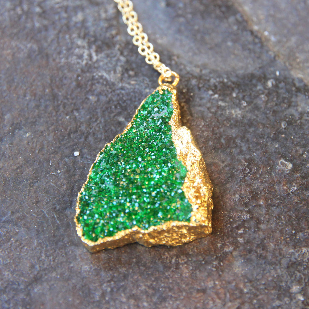 Ireland. 24k Gold Dipped Emerald Green Uvarovite Pendant and 18k Gold Chain Necklace