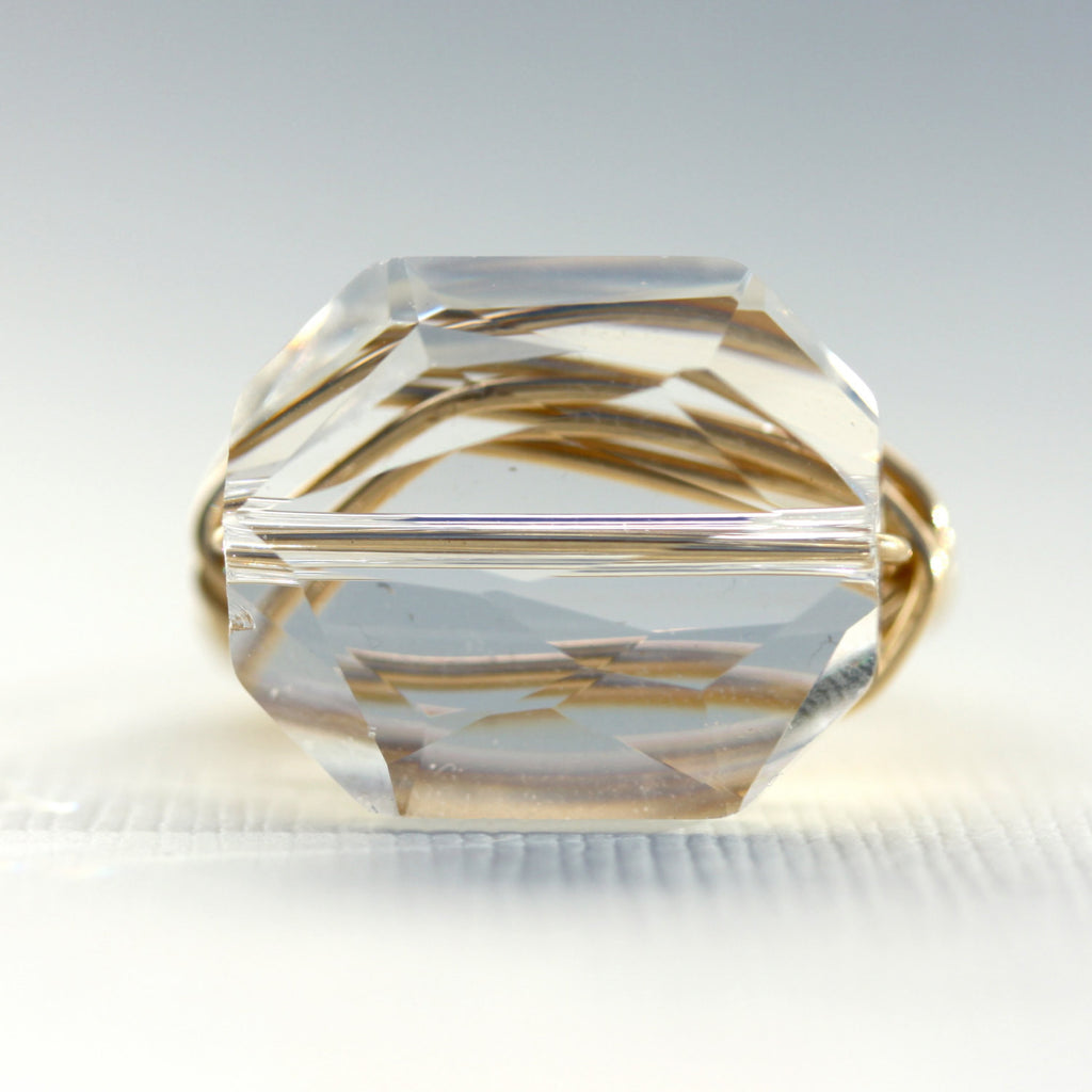 Gem Pop Ring - 18k Gold & Clear Swarovski Crystal Wire Wrapped Ring