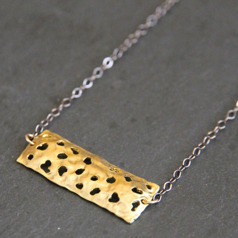 Volcanic Necklace - 18k Gold Organic Textured Pendant Charm Necklace