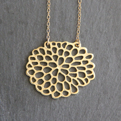 Dahlia Necklace - 18k Gold Organic Flower Floral Pendant Charm Necklace