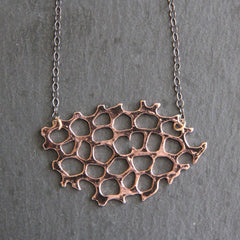 Honey Necklace - 18k Rose Gold Organic Honeycomb Pendant Charm Necklace