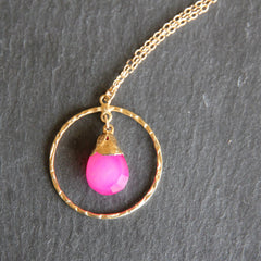 Verona Necklace - 24k Gold Dipped Fuschia Chalcedony Gemstone Gold Hammered Hoop Necklace.