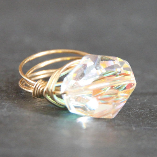 Gem Pop Ring - 18k Gold & Iridescent Swarovski Crystal Wire Wrapped Ring