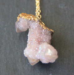 Mykonos Necklace - 24k Gold Dipped Lavender Spirit Quartz Necklace
