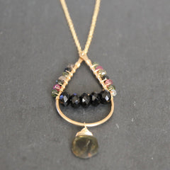 Mumbai Necklace - 18k Gold Handformed Hoop & Multi Colored Tourmaline Necklace