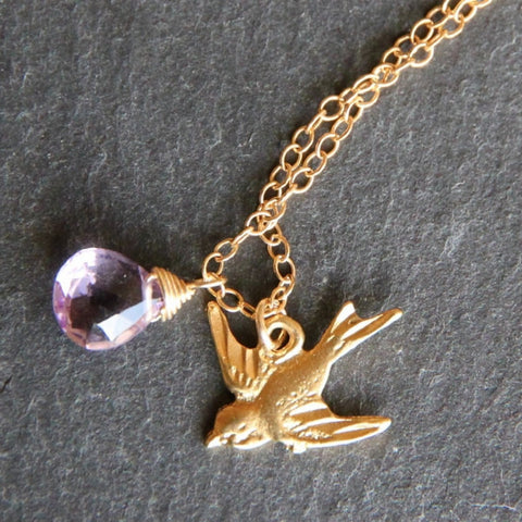 Amalfi Briolette Necklace - 18k Gold Bird Charm and Gemstone Necklace.