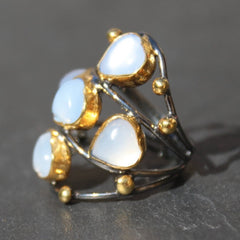 Twilight New Moon 24k Gold, Oxidized Sterling Silver & Moonstone Cocktail Ring