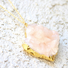 Dixie Necklace - 24k Gold Dipped Pink Peach Crystal Cluster Necklace