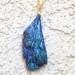 Raven Necklace - 24k Gold Dipped Blue Cobalt Kyanite Necklace
