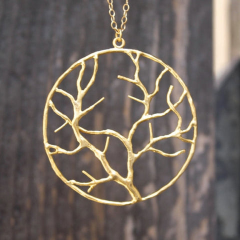 The Tree of Life Infinity Necklace - 18k Gold Tree Pendant Charm Necklace